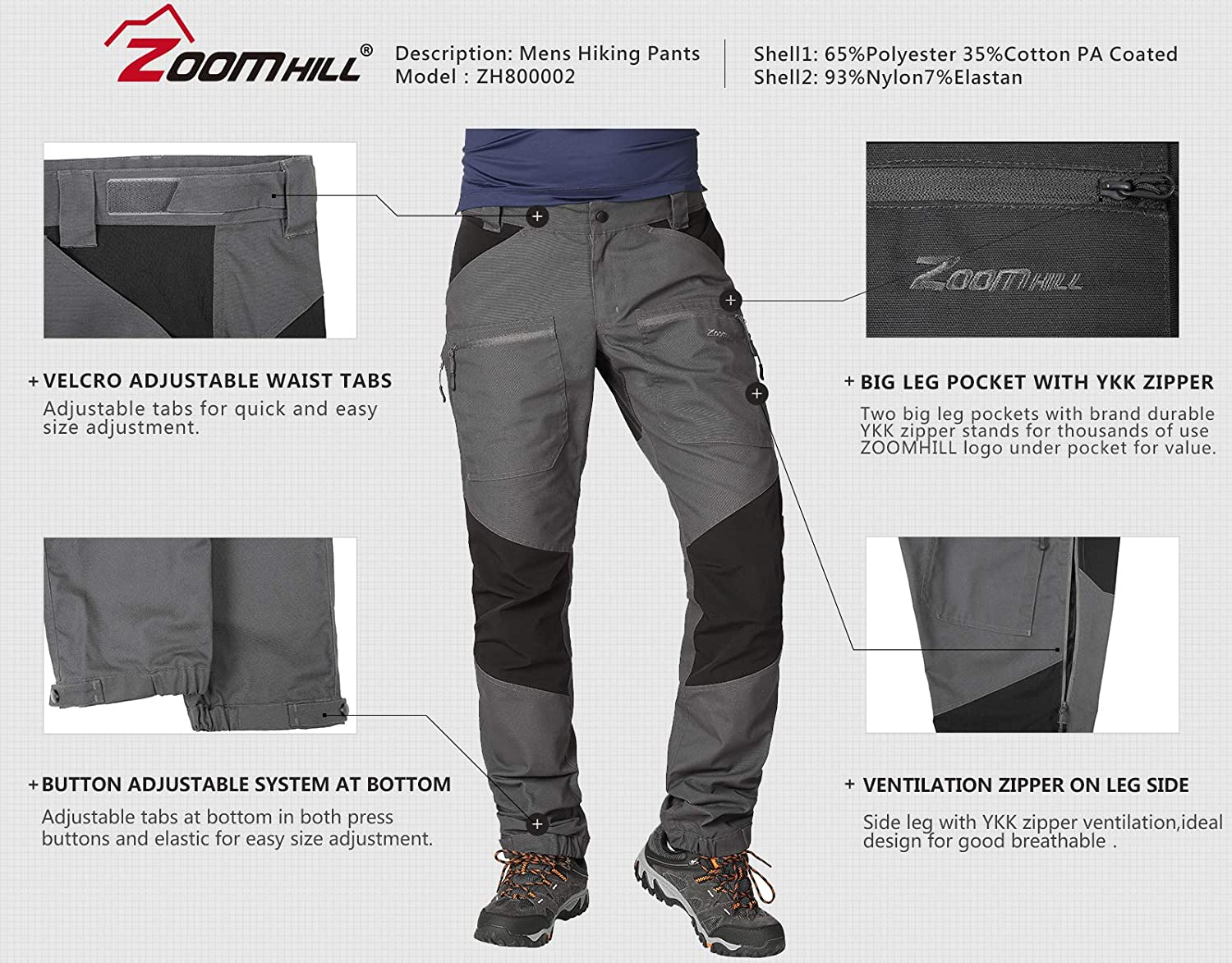 ZOOMHILL Mens Pro Hiking Stretch Pants Cargo Trouser Water-Resistant Tactical Outdoor Working Pants