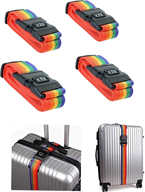 Correas de Equipaje de 4 Piezas, Cinturones de Equipaje de Maleta de Viaje Ajustables con Bloqueo de combinación de 3 diales y Ranura para Etiquetas con Nombre (Rainbow)