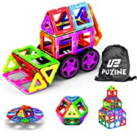 Puzine Magnetic Blocks,68Pcs Magnetic Building Set Creativity Magnetic Educational STEM Toys for Kids Toddlers Children-Come with a Big Storage Bag