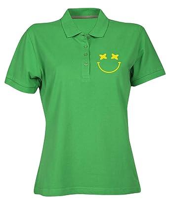 T-Shirtshock Polo para Mujer Verde FUN0685 Bahamas Smiley: Amazon ...