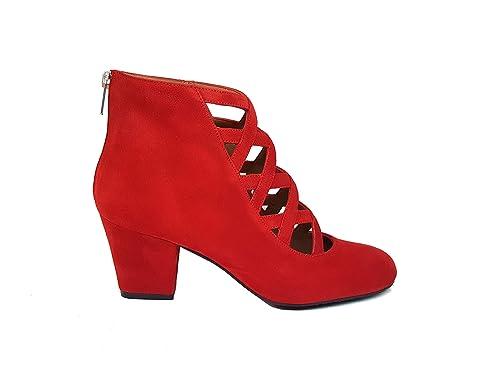 Gennia XUPPA Damen Leder Stiefel & Stiefeletten + Block Absatz 6 cm + Reißverschluss