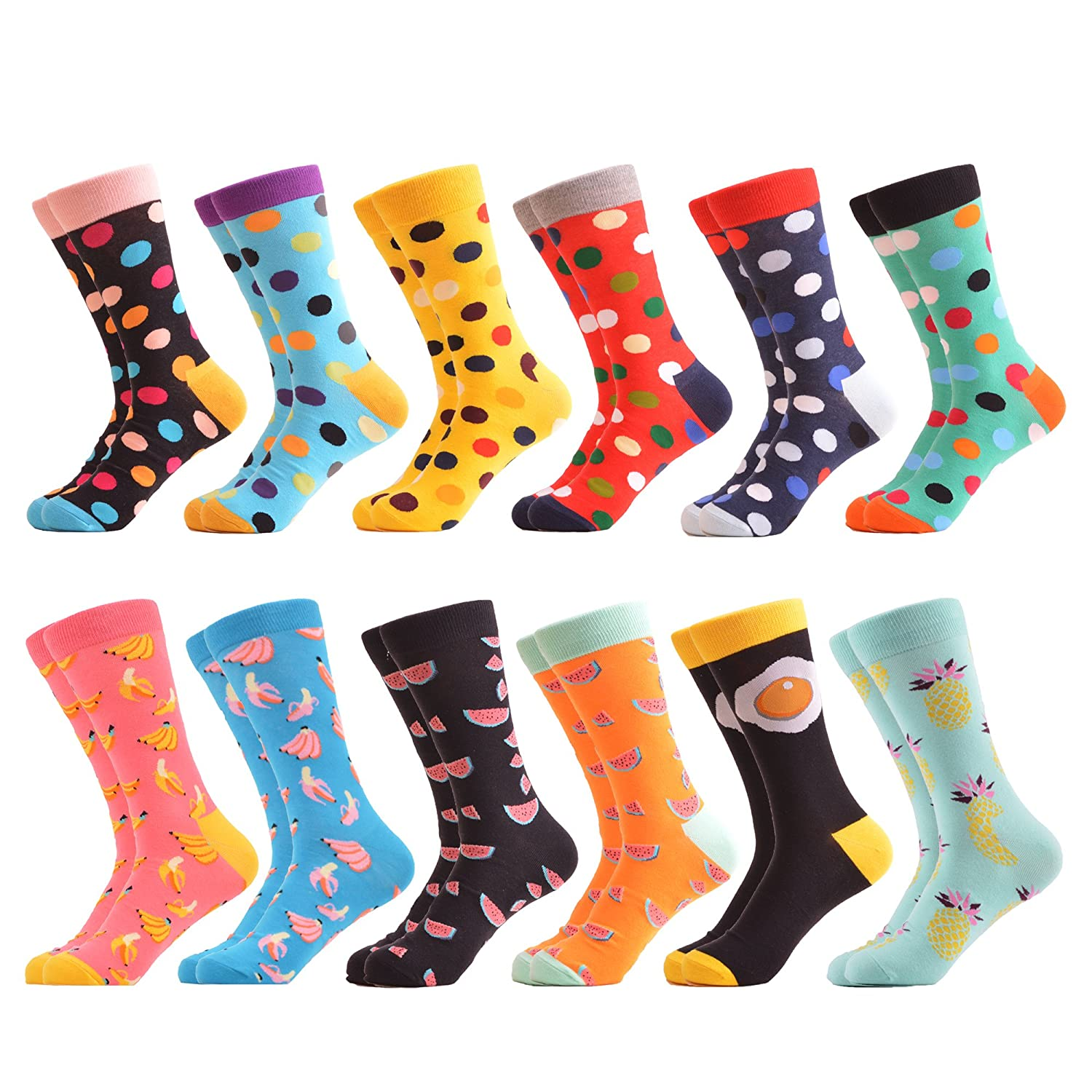 WeciBor Women's Funny Printed Casual Combed Cotton Crew Socks Packs C062-46