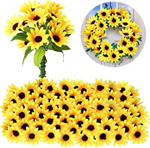 Luinabio 50 Pieces Mini Artificial Sunflower Heads with Iron Wire for Home Party Decoration Wedding Decor, Bride Holding Flowers Centerpieces Wreath Garden Craft DIY Art Decor Crafts (1.77 Inch)
