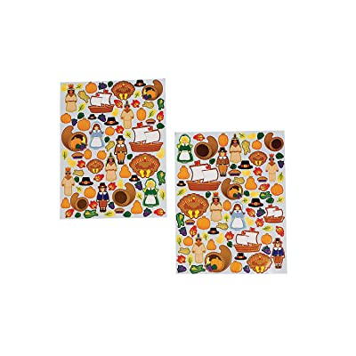 Fun Express - Thanksgiving Sticker Sheets for Thanksgiving - Stationery - Stickers - Stickers - Sheets - Thanksgiving - 12 Pieces: Toys & Games