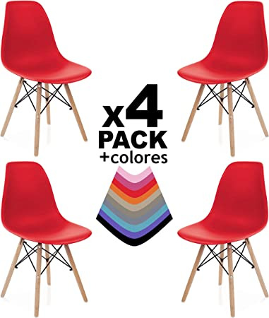 duehome - Nordik - Pack 4 sillas, Silla de Comedor, Salon, Cocina ...