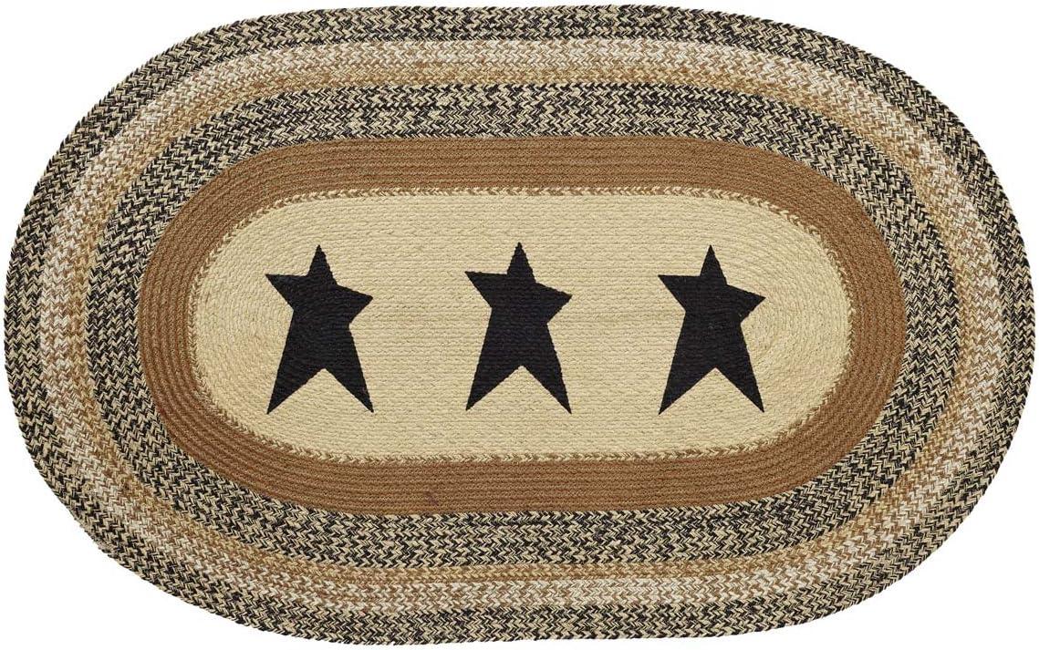 VHC Brands 10119 Primitive Flooring Prim Grove Star Jute Stenciled Oval 36×60 Rug