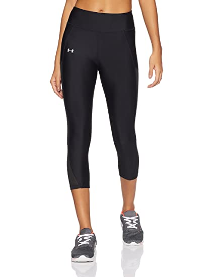 65fcdfd12f7c9 Under Armour Women's Fly-By Mesh Inset Capris, Black (001)/Reflective