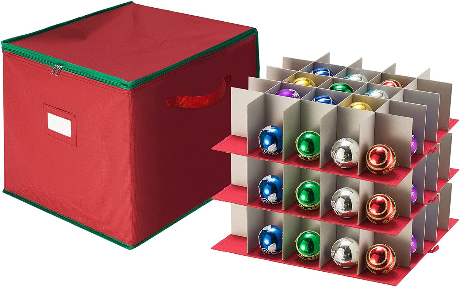 Tiny Tim Totes 83-DT5535 Red Holiday Ornament Storage Chest Holds 75 Bulbs w/Dividers, Case