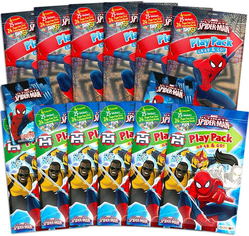 Ultimate Spiderman Party Supplies Ultimate Spider-Man Marvel Ultimate Spiderman Party Favors Pack ~ Bundle of 12 Play Packs with Stickers and Crayons with Stickers Coloring Books
