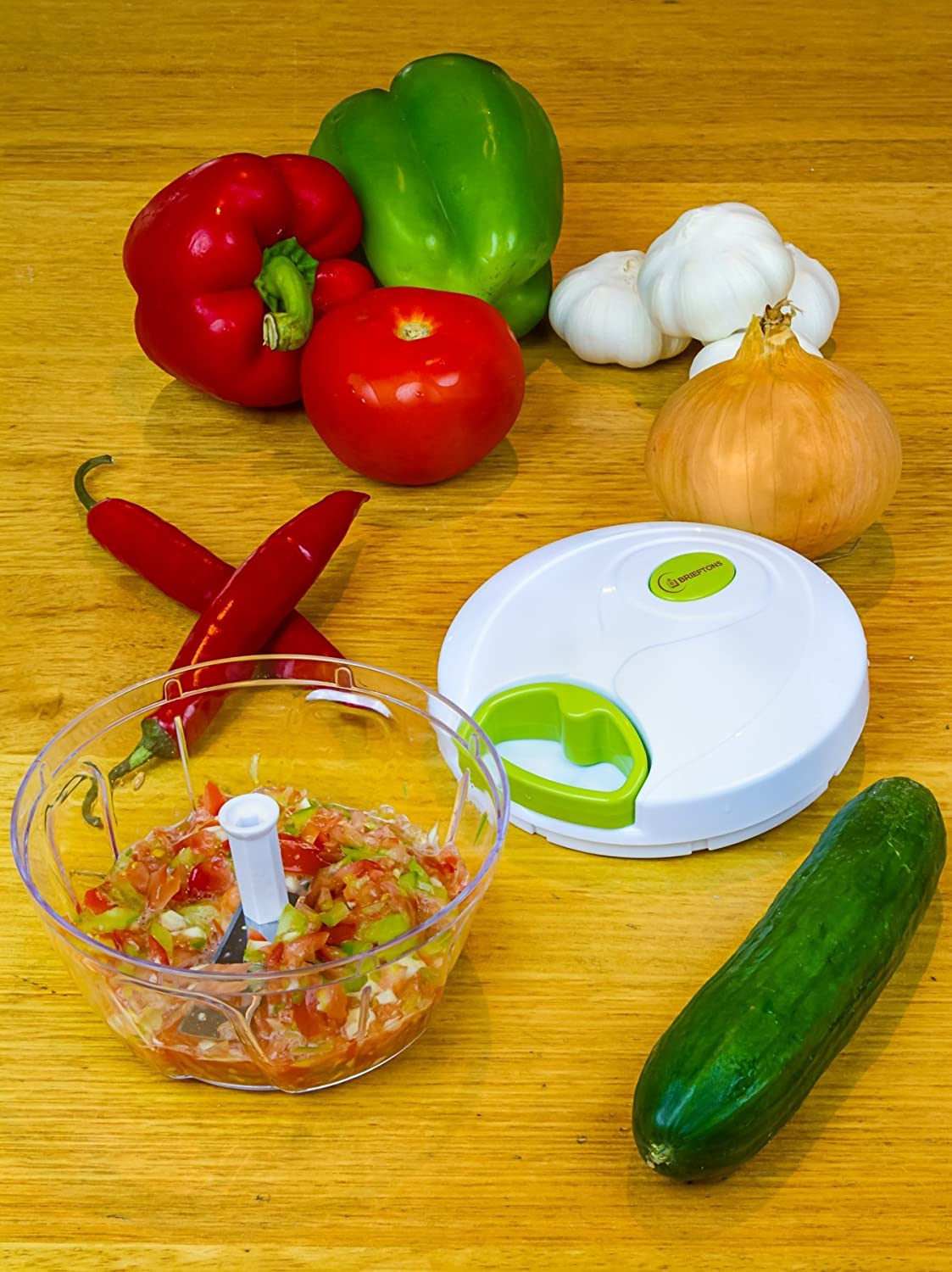 Brieftons Hand Held Vegetable Chopper to Chop Fruits, Nuts, Herbs, Onions, Garlic for Salsa, Salad, Pesto, Coleslaw, Puree