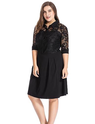 Chicwe Vestido Camisero con Encaje Tallas Grandes Mujeres Vestido Abotonado con Falda de Tablas - Vestido a la Rodilla Casual en Oficina Fiesta Negro 3X: ...