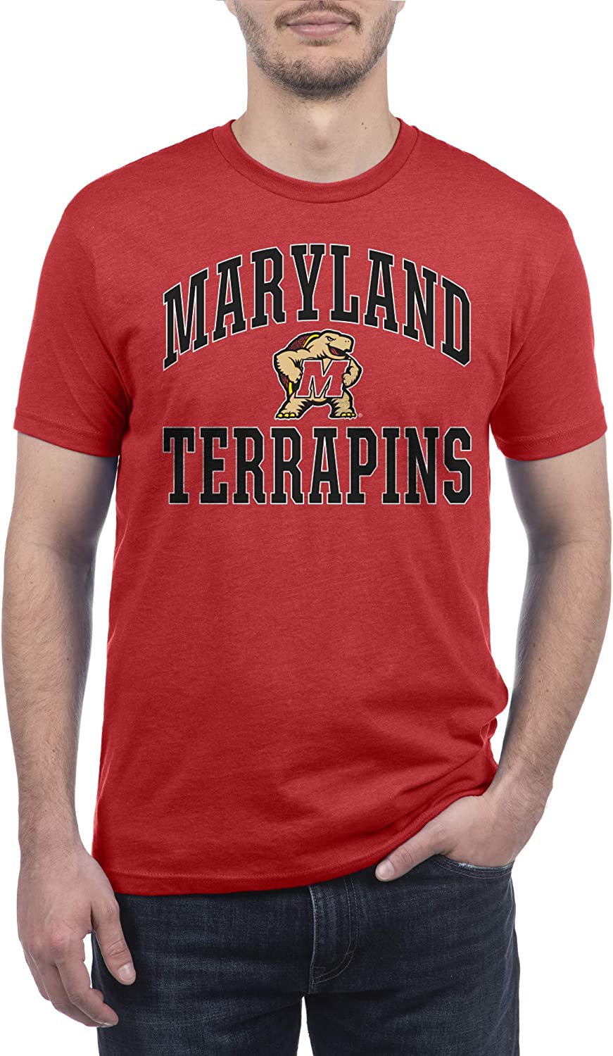 Top of the World NCAA Mens Modern Fit Premium Dual Blend Short Sleeve Team Color Distressed Mascot Arch Tee