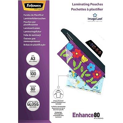 Fellowes 53062, Pack de 100 fundas para plastificar, brillo formato A3, 80 micras, surtido: modelos aleatorios