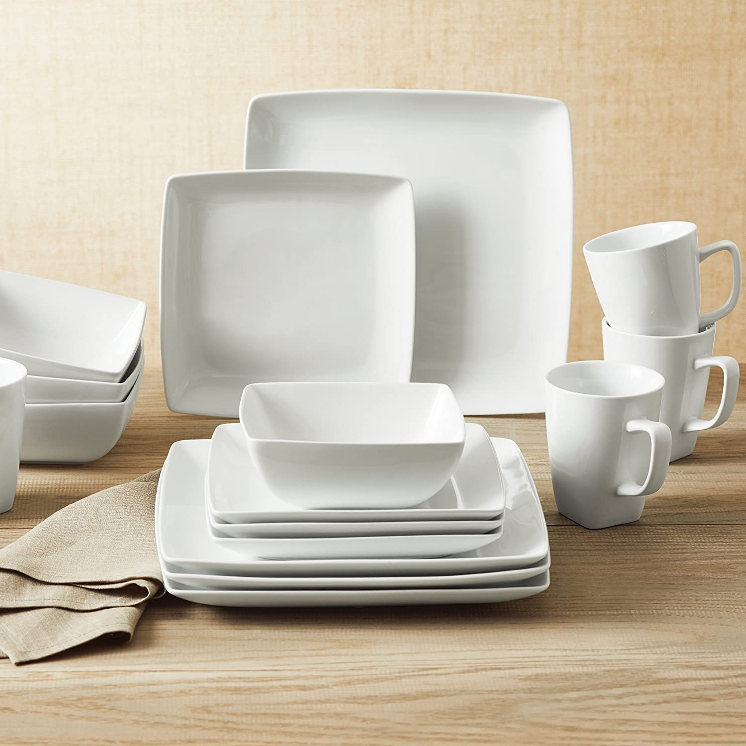 Better Homes and Gardens Porcelain I Oven to Table 16-Piece Square Dinnerware Set in White