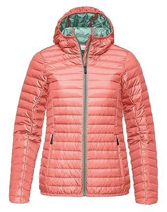 45bd1eba7f3 Kjus Ladies Cypress Hooded Down Jacket - Light Coral   Tender Green - 44 -  Womens warm lightweight hooded down jacket  Amazon.co.uk  Clothing