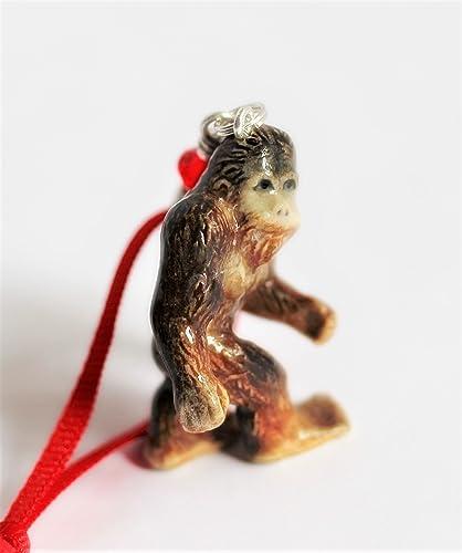 bigfoot christmas ornament sasquatch tree decor porcelain figurine charm - Bigfoot Christmas Ornament