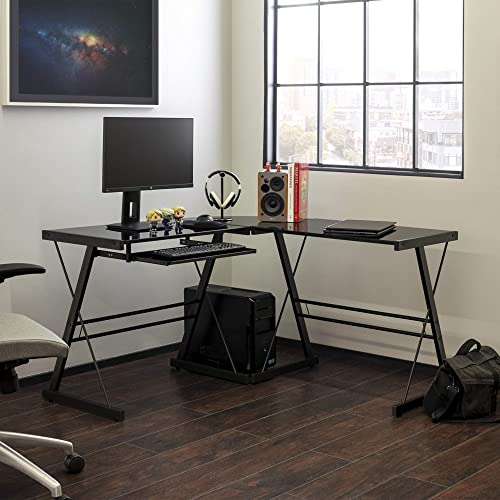 Walker Edison Furniture Company Modern Corner L Shaped Glass Computer Writing Gaming Gamer Command Center Workstation Desk Home Office