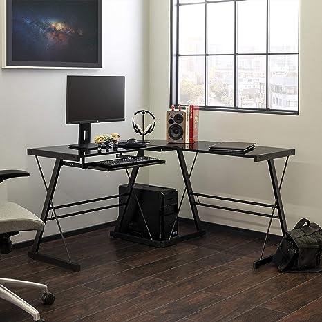 Walker Edison Ellis Modern Glass Top L Shaped Corner Gaming Desk With Computer Keyboard Tray 51 Inch Black Furniture Decor