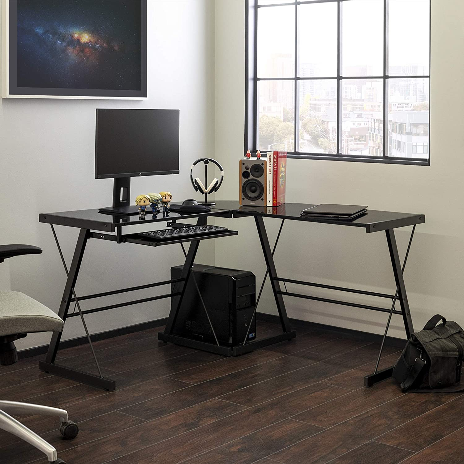 WE Furniture Modern Corner Glass Computer Gaming Gamer Command Center Desk, Soreno, Black