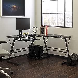 Walker Edison Furniture Company Modern Corner L Shaped Glass Computer Writing Gaming Gamer Command Center Workstation Desk Home Office, Single, Black