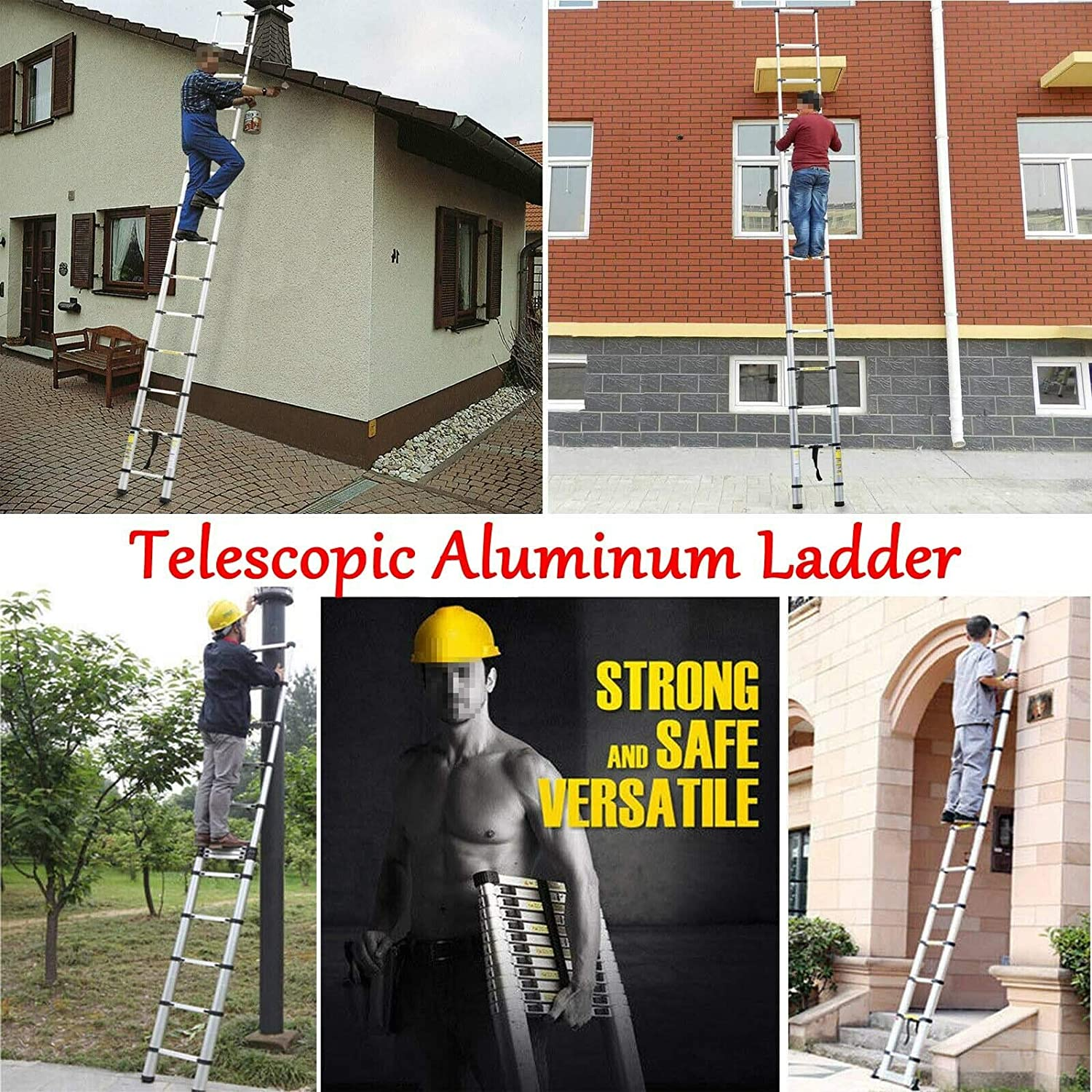 2.5m+2.5m Telescopic Ladder Multi-Purpose Aluminum Ladder Heavy Duty Stable A Frame /& Straight Ladder Foldable Extendable Max Load 150kg 330lb Anti-Slip for Indoor Outdoor DIY Tools