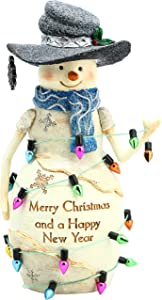 Pavilion Gift Company Pavilion-Merry Christmas and A Happy New Year-6 Inch Collectible BirchHearts Snowman Figurine, 6