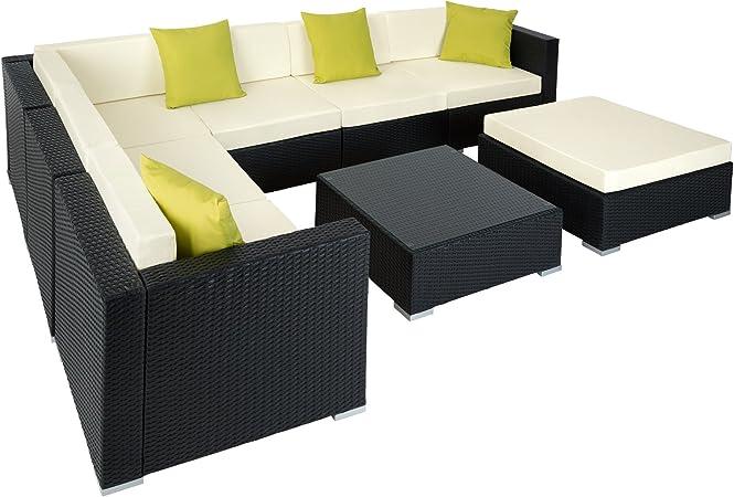 TecTake Aluminio POLIRATÁN Conjunto TRESILLO Muebles DE RATÁN Conjunto para JARDÍN Incl. Fijaciones (Negro   no. 401815): Amazon.es: Hogar