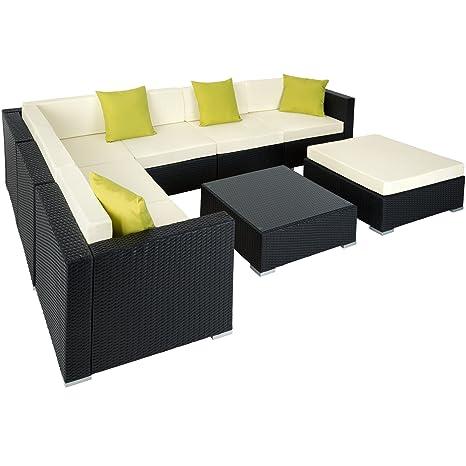 TecTake Aluminio POLIRATÁN Conjunto TRESILLO Muebles DE RATÁN Conjunto para JARDÍN Incl. Fijaciones (Negro | no. 401815)