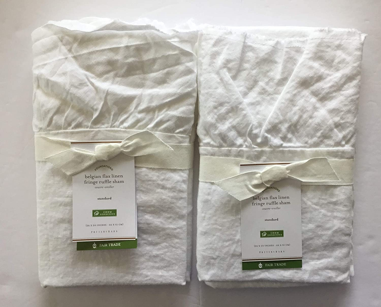 White Standard Set of 2 Pottery Barn Belgian Flax Linen Ruffle Shams
