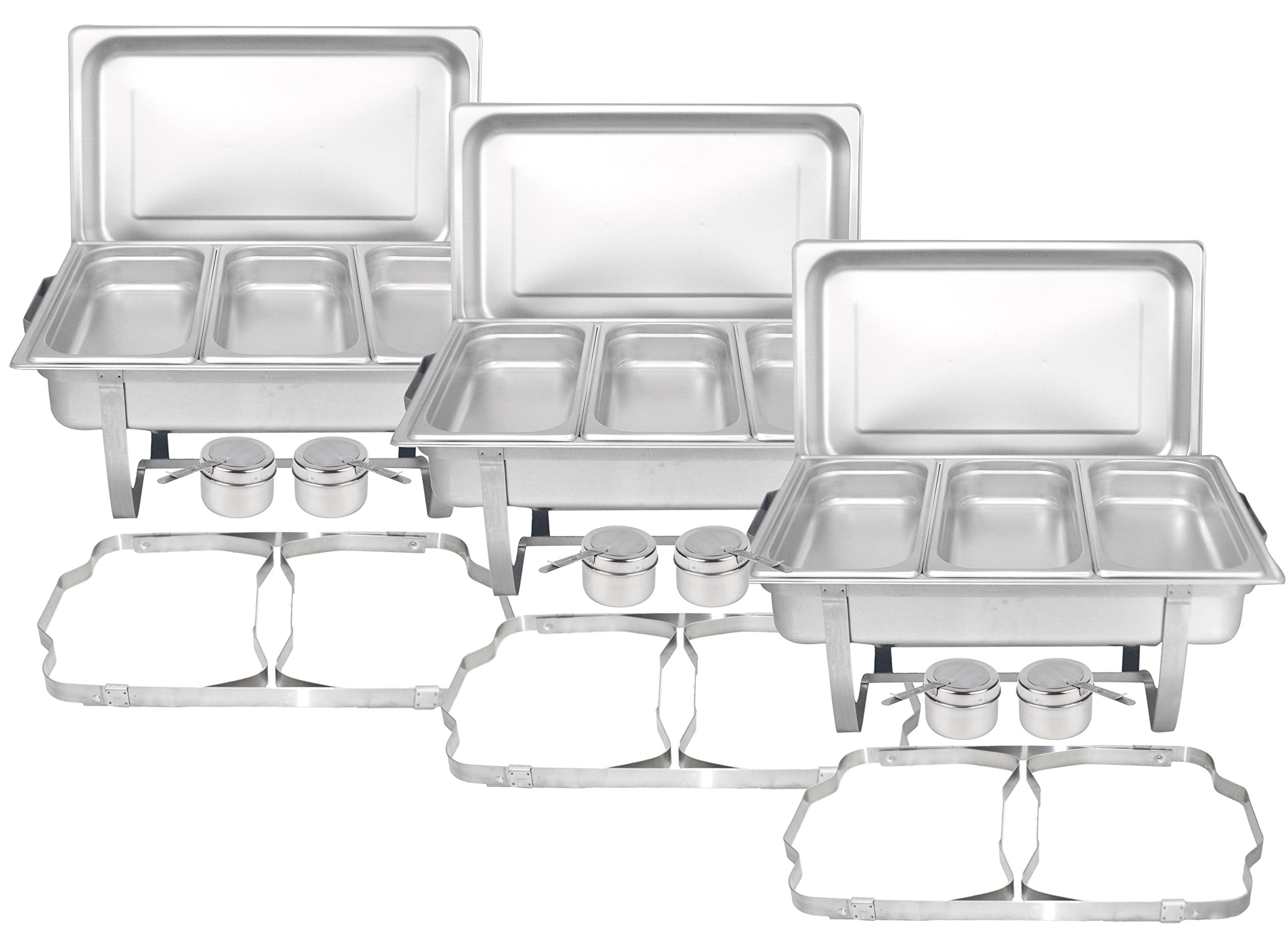 Tiger Chef 3-Pack 8 Quart Full Size Stainless Steel Chafer with Folding Frame and 3 1/3rd Size Chafing Food Pans and Cool-Touch PlasticTop
