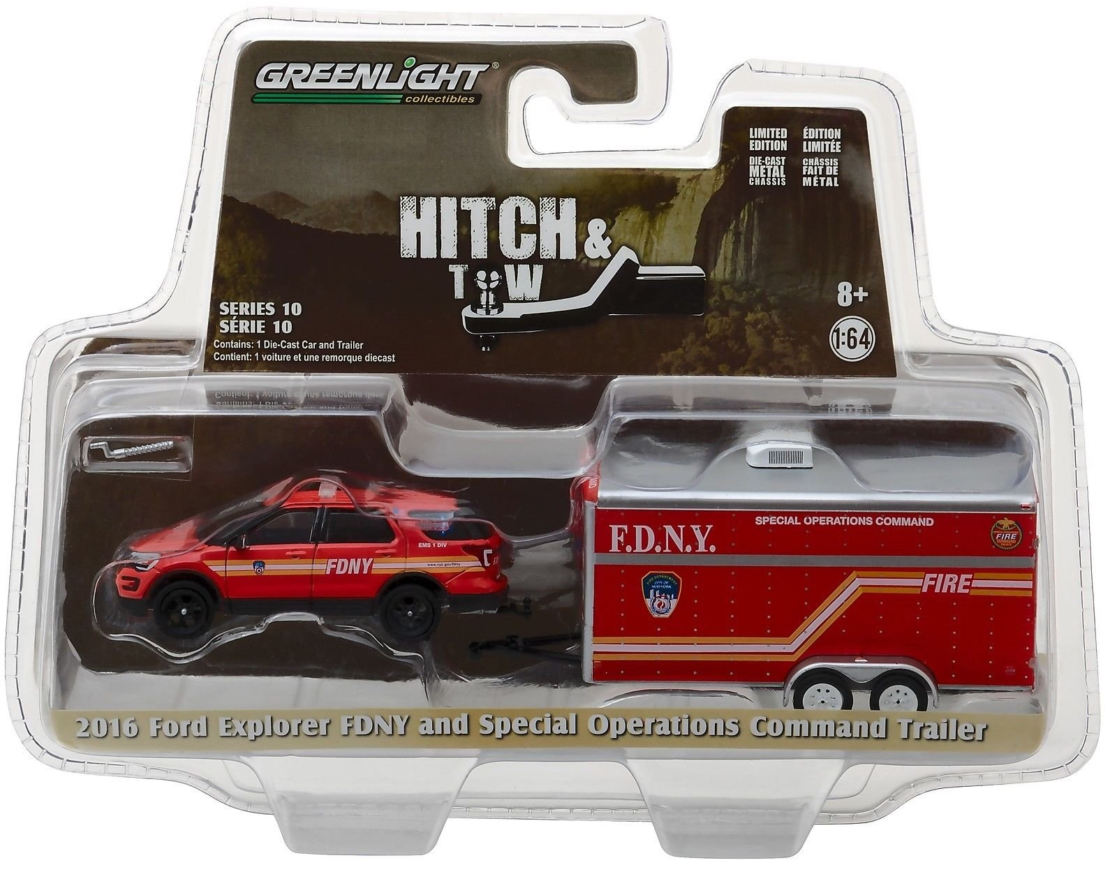 RED 2011 FORD NEW YORK CITY FIRE DEPARTMENT GREENLIGHT 1:64 SCALE DIECAST MODEL