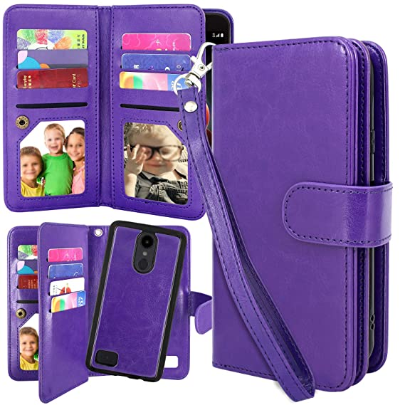 LG Aristo 2 Plus Case, Harryshell 12 Card Slots Detachable Magnetic Flip PU  Wallet Leather Case Cover Wrist Strap for LG Tribute Dynasty/Fortune 2 /