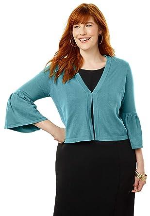 ba674914f Jessica London Women s Plus Size Bell Sleeve Sweater Shrug at Amazon  Women s Clothing store