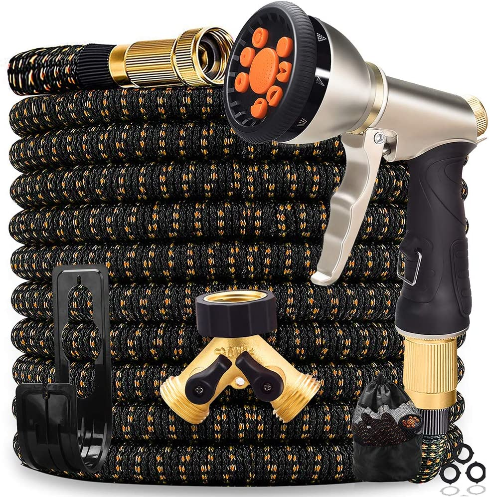50 ft Expandable Garden Hose,Superior 3750D fabric,4-Layer Latex,9 Modes High-Pressure Durable Zinc Alloy Spray Nozzle,Strong Brass Connectors,2-Way Pocket Splitter - Perfect Set for Watering and Was