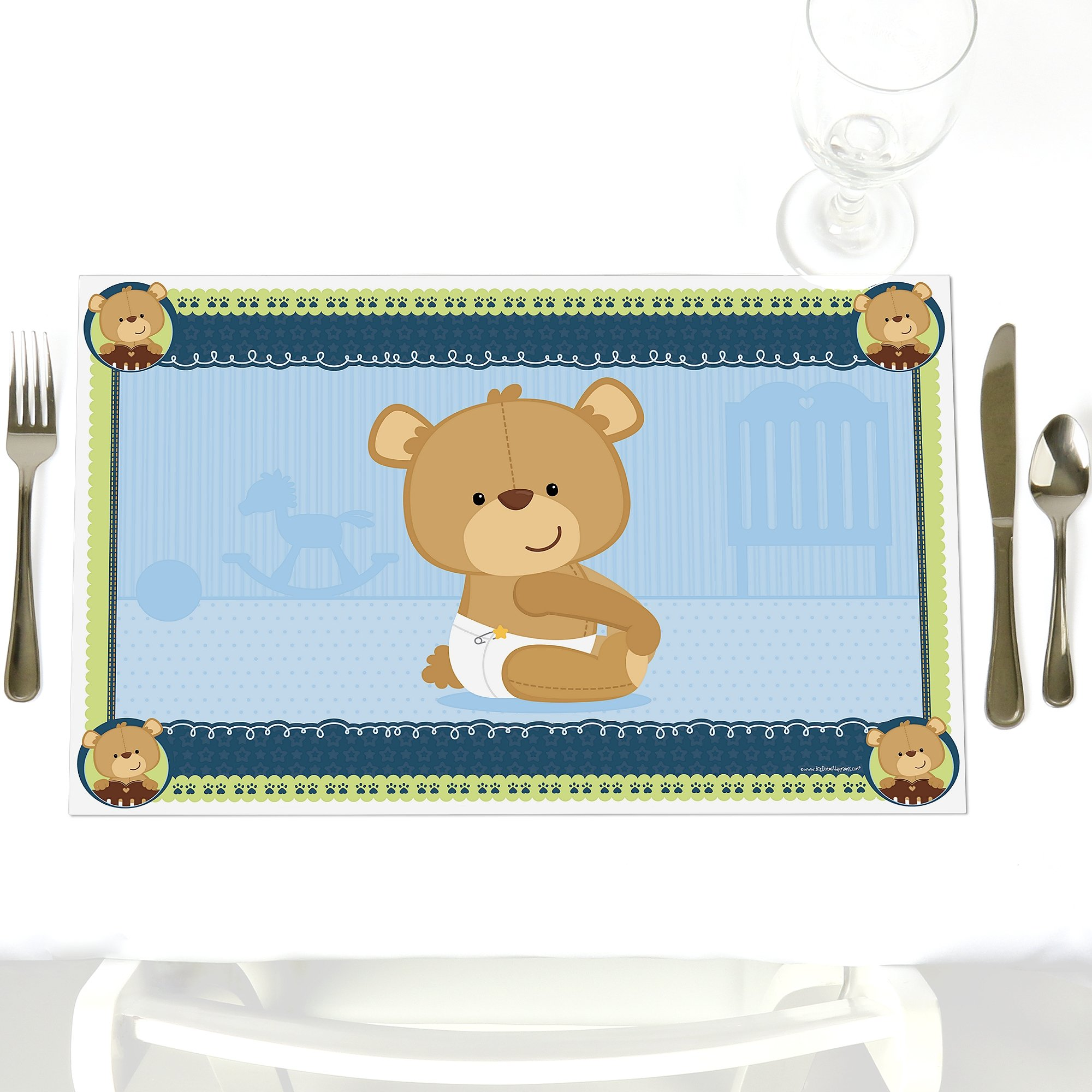 Boy Baby Teddy Bear - Party Table Decorations - Baby Shower or Birthday Party Placemats - Set of 12