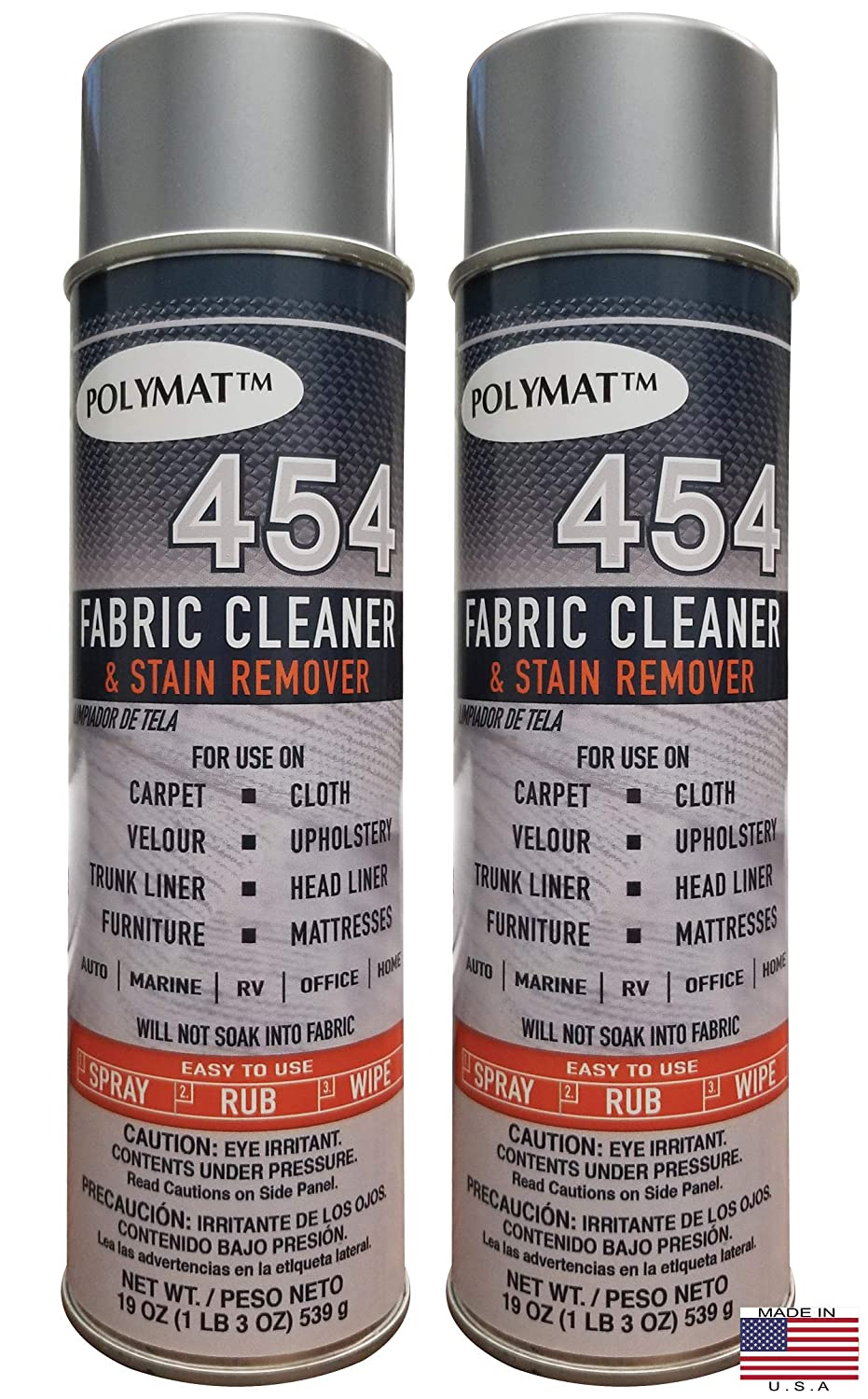 B07JKDCT9G Polymat QTY2 454 CAR Truck Boat Headliner and Fabric Cleaner & Stain Remover 813eNCZpdTL