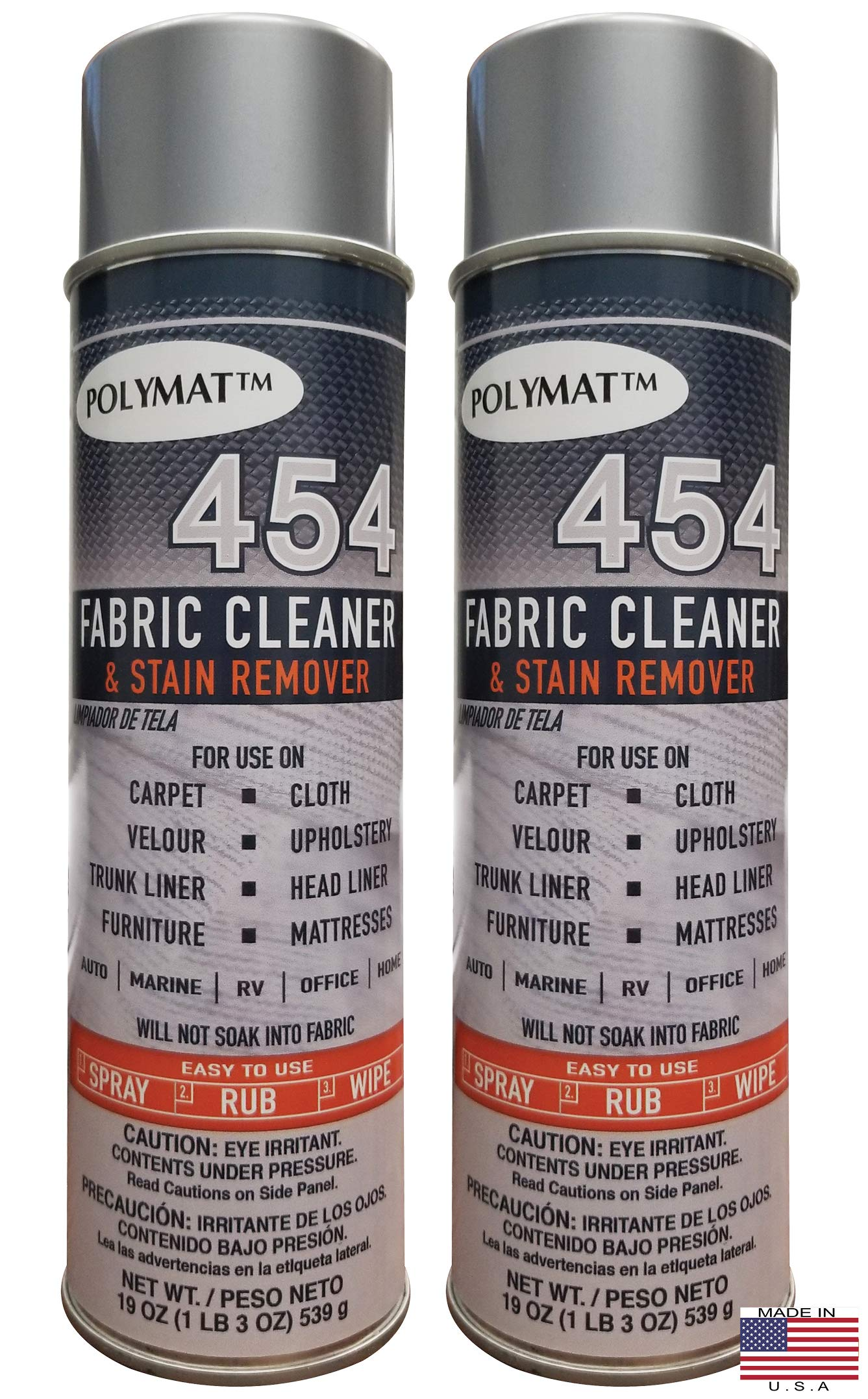 Polymat Qty 2 454 Spot Stain Cleaner for Mattress Upholstery and Fabric 19fl oz