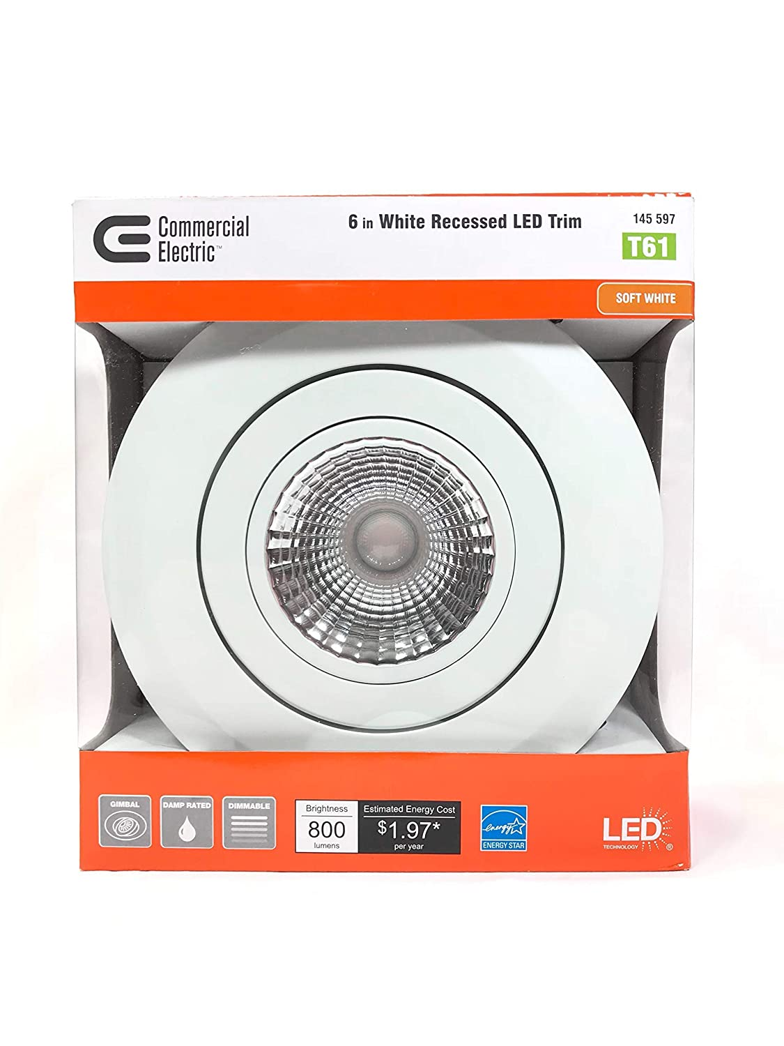White Integrated LED Recessed Gimbal Trim Commercial Electric 6 in