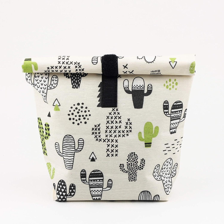 Porta alimentos ecologico Bolsa merienda colegio reutilizable Estampado cactus impermeable y lavable