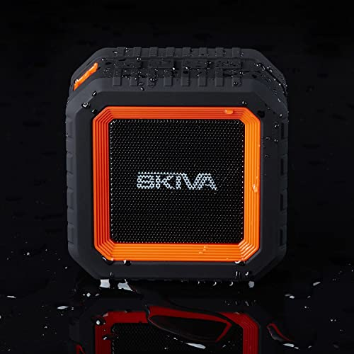 Skiva SoundCube Waterproof Bluetooth Speaker with 12 Hours Playtime Portable Wireless IP65 Splashproof 2200mAH Microphone for iPhone 11 X, Samsung Galaxy Color Orange Black Model SP104
