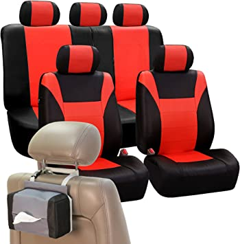 SUV or Van Airbag Ready and Split w Free FH1002 Non-Slip Dash Pad- Fit Most Car FH Group FH-PU003115 Racing PU Leather Car Full Set Tangerine//Black Seat Covers Truck