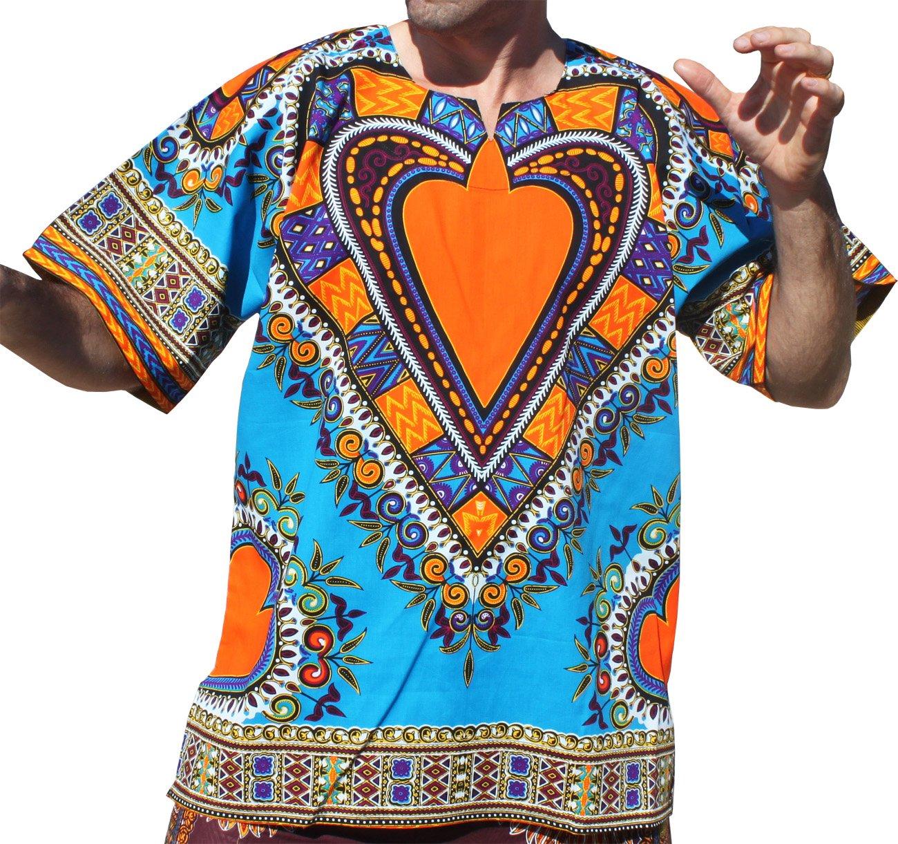 RaanPahMuang Bright Heart Cotton Africa Dashiki Plus Sized Shirt Plain Front, XXX-Large, Sky Blue by RaanPahMuang