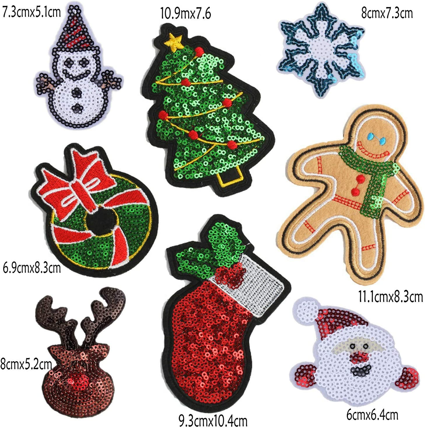 Christmas Tree Sew On Patches Snowman Sequin Santa Claus