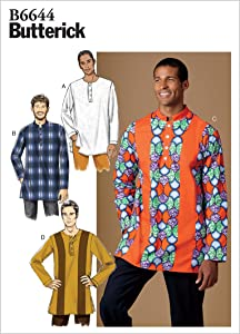 Butterick Easy to Sew Men's Loose-Fitting Shirt Sewing Patterns Sizes 34-44