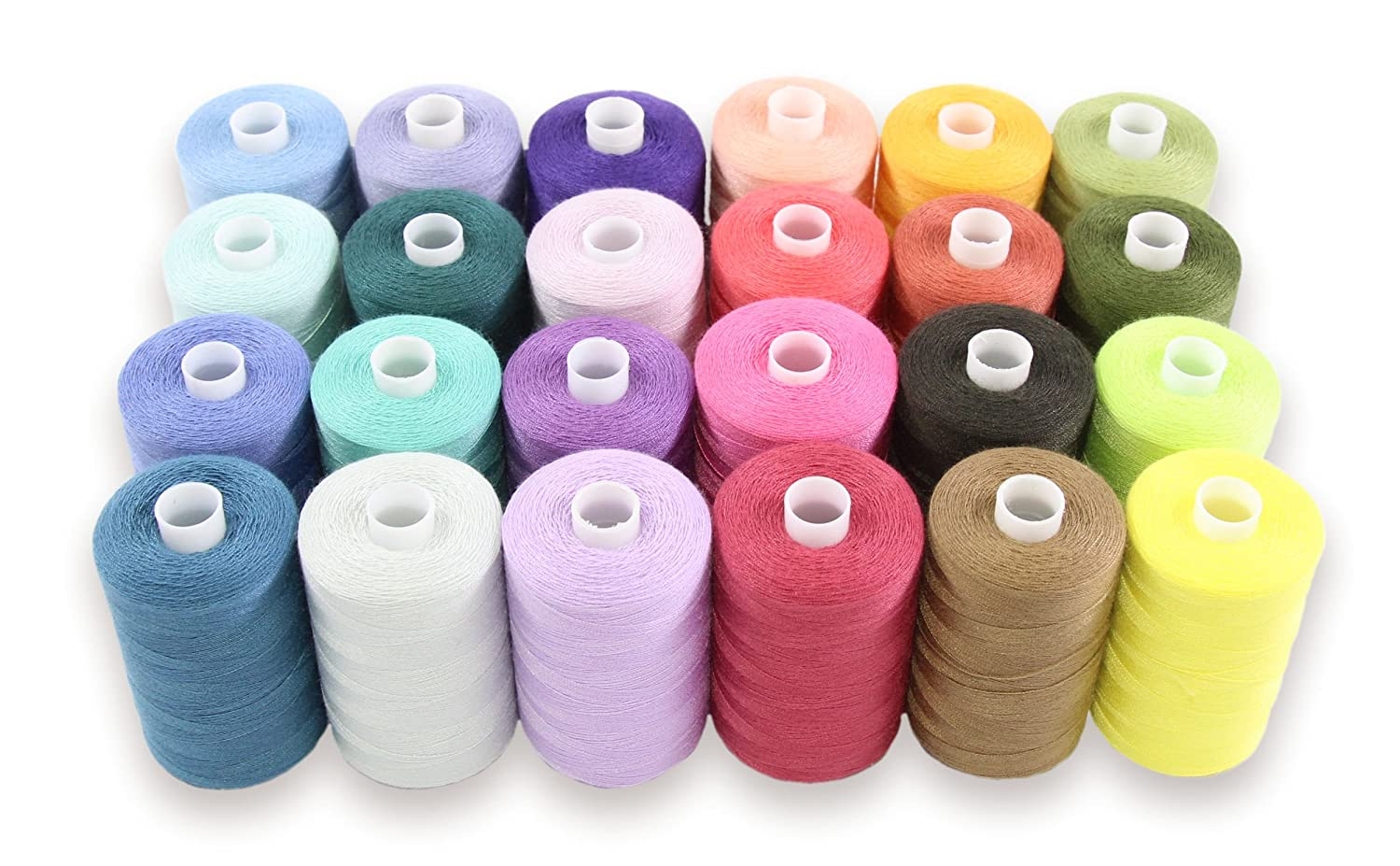 SEWING AID All Purpose Polyester Thread for Hand & Sewing Machine, 24 Spools in Assorted Colors, 1000 yd Each, Double of Black & White Threads GDG/0200