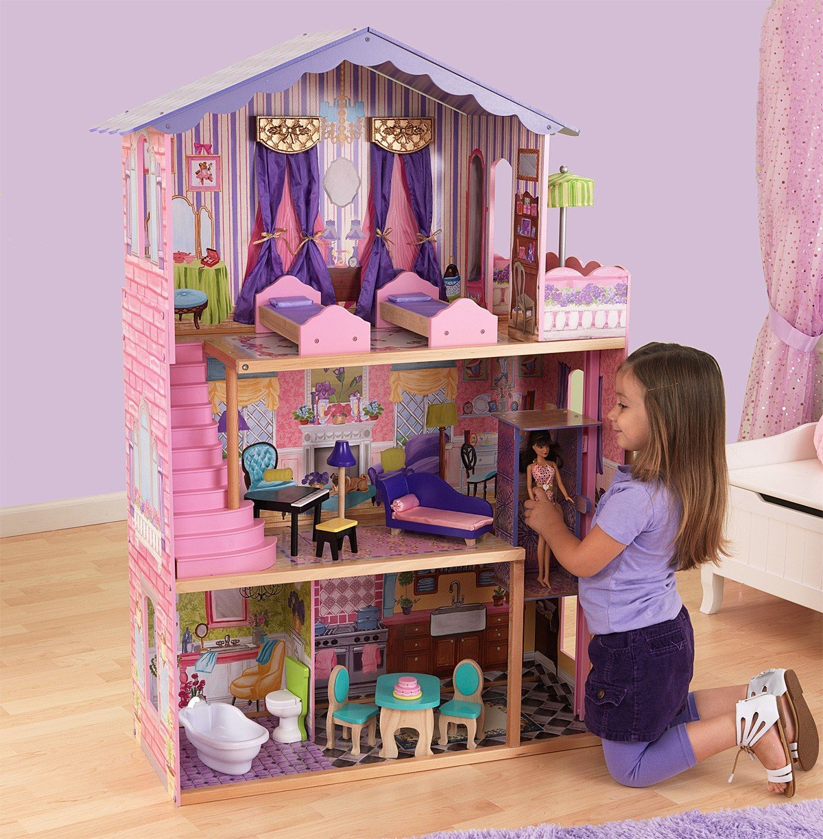 barbie wood furniture. Amazon.com: KidKraft My Dream Mansion Wooden Dollhouse With New Gliding Elevator And 13 P...: Toys \u0026 Games Barbie Wood Furniture