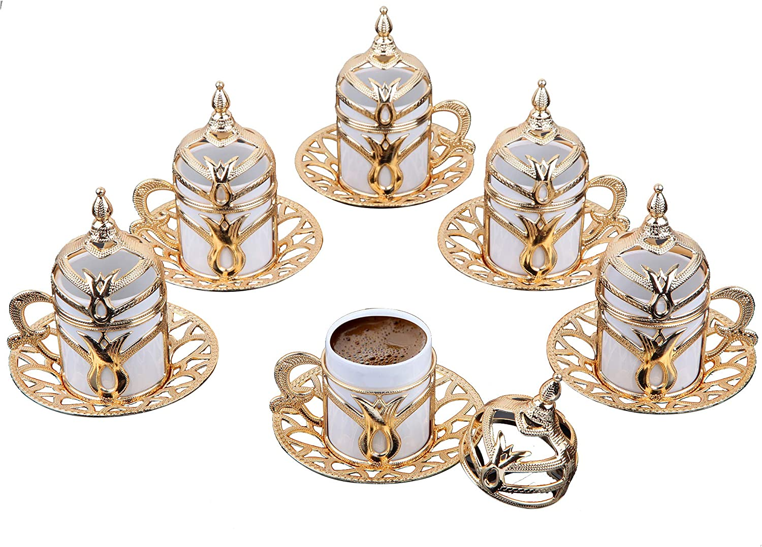 Premium Porcelain Turkish Coffee Cups Set of 6 and Saucers - 3.5 oz. - Gold Espresso Serving Cup Set