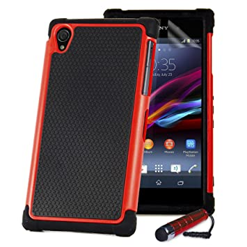 big sale 0a9e0 86991 32nd ShockProof Series - Dual-Layer Shock and Kids Proof Case Cover for  Sony Xperia Z, Heavy Duty Defender Style Case - Red