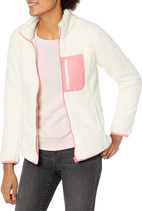 Essentials Womens Polar Fleece Long Sleeve Mock Neck Relaxed-Fit Popover Jacket with Pockets