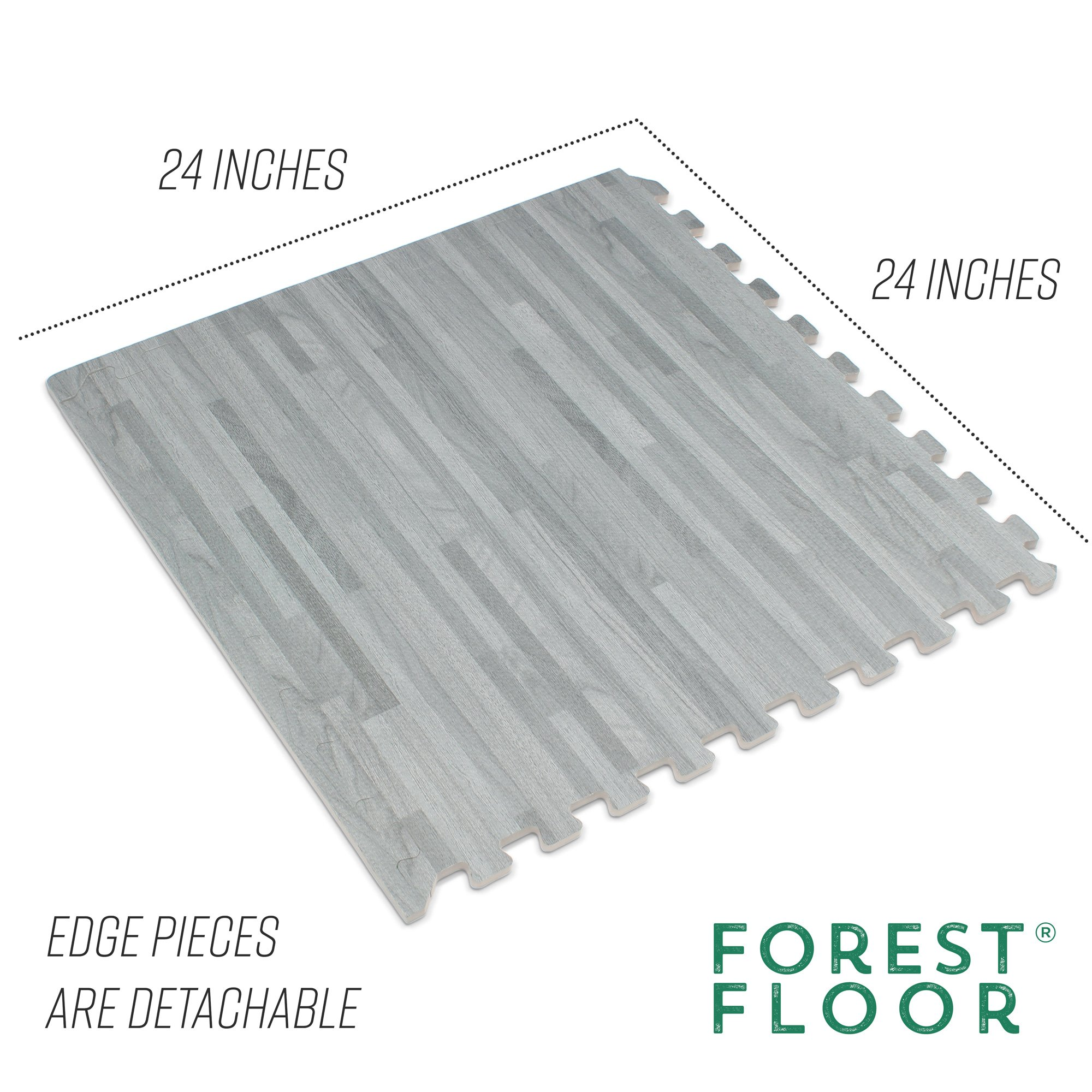 Forest Floor 3/8'' Thick Printed Wood Grain Interlocking Foam Floor Mats, 16 Sq Ft (4 Tiles), Slate by Forest Floor (Image #4)